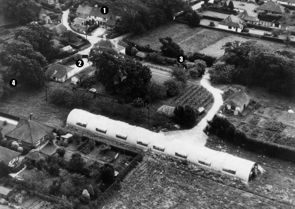 Golden Produce Chicken Farm (later to become Webbs). 1. Everton Post Office & Stores  2. Yeovilton Cottage  3. Frys Lane  4. Wainsford Road (photo courtesy Gill Rowlands)